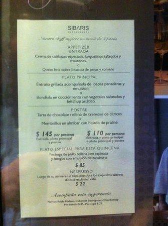 Sibaris: fixed price menu