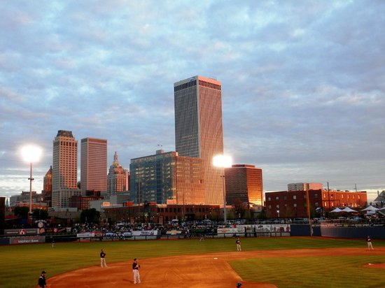 ONEOK Field: View of Downtown Tulsa From The Third Base Side