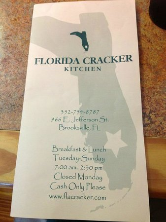 Florida Cracker Kitchen: Menu cover