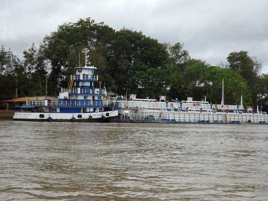 Passeio de barco pelo Rio Madeira: Contêiner e embarcações