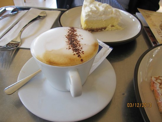 Caffe Portomaso: White chocolate cheesecake and a terrific cappuccino. Really special.