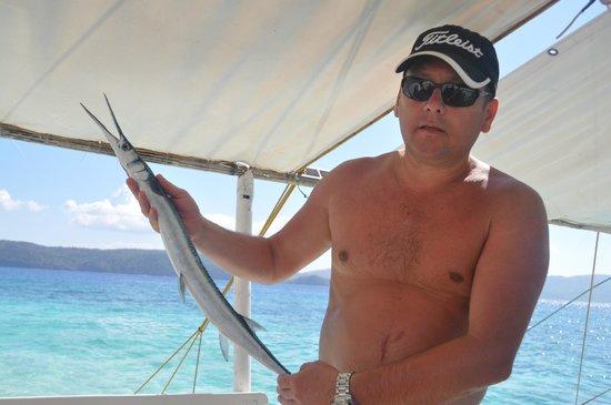 Cashew Grove Beach Resort : Our fisherman caught a barracuda