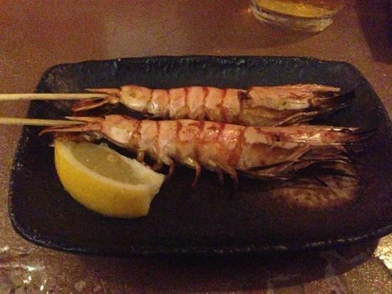 Tanuki Sushi & Sake Bar: tiger prawn yakitori. you can eat the shell.