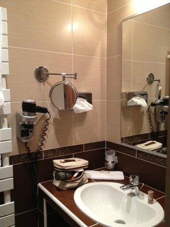 Le Dauphin Blanc : Lavabo  (dans la salle de bains comme dans les toilettres, l'éclairage est à détecteur)