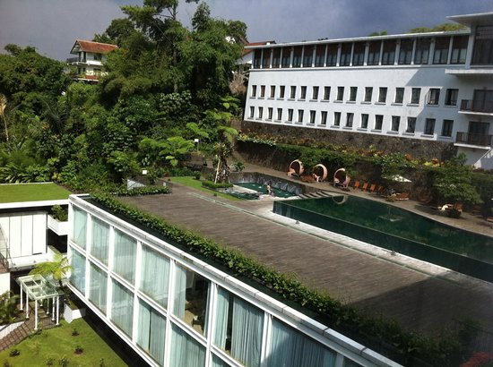 Padma Hotel Bandung: Pool view from the bathroom