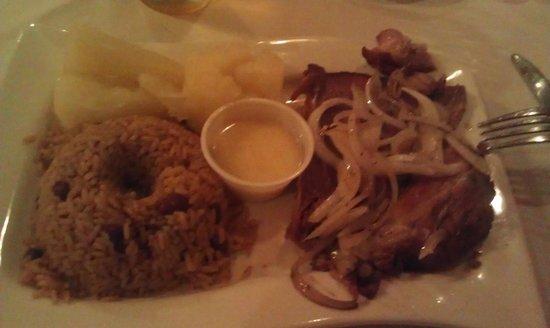 La Bodeguita de Vero: Delicious Roast Pork with Yuca, Mojo and Beans and Rice.