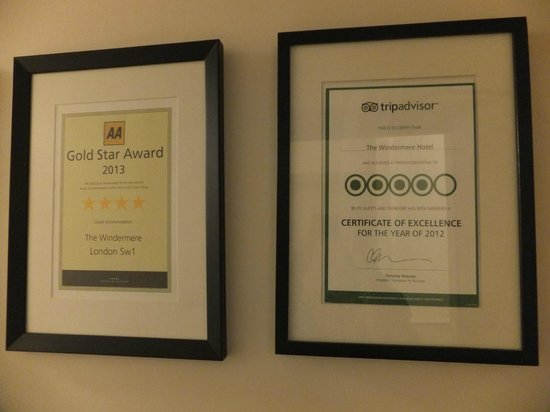 The Windermere Hotel: Hotel awards.