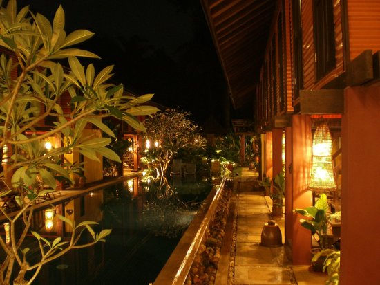 The Village House: Pool at night