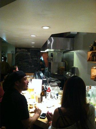 Kushiage Dining Horon: Kitchen and bar area