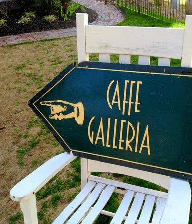 Caffe Galleria front yard rocker sign