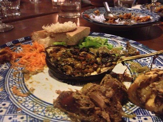 Dar Seffarine : A variety of foods at dinner
