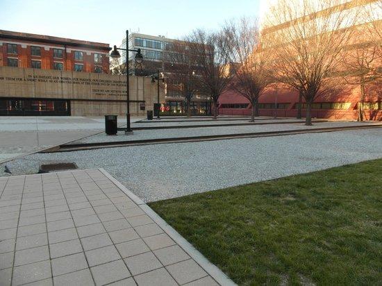Holocaust Memorial: view of memorial yard