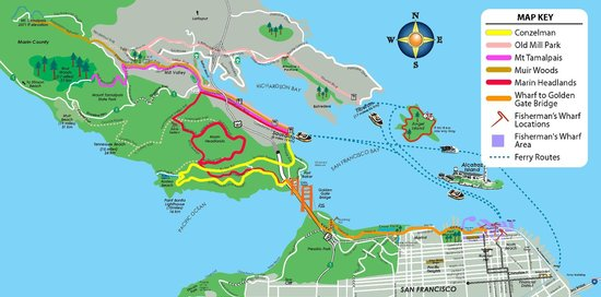 Route Map Of The Marin Headlands Picture Of Bay City