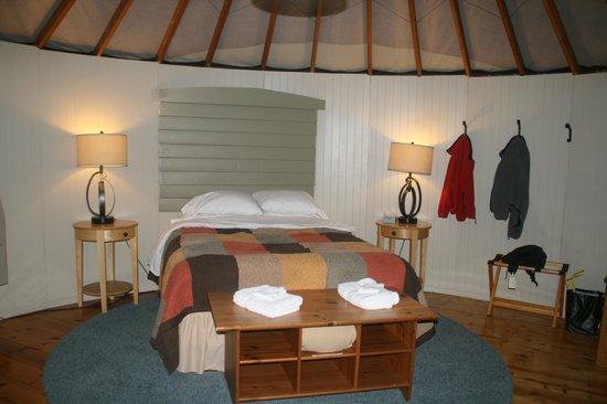 Treebones Resort : This is the insde of Yurt 2, wonderfully comfortable and rustic.