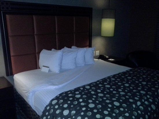 StayBridge Suites DFW Airport North : Swanky bedroom (maybe a little dark)
