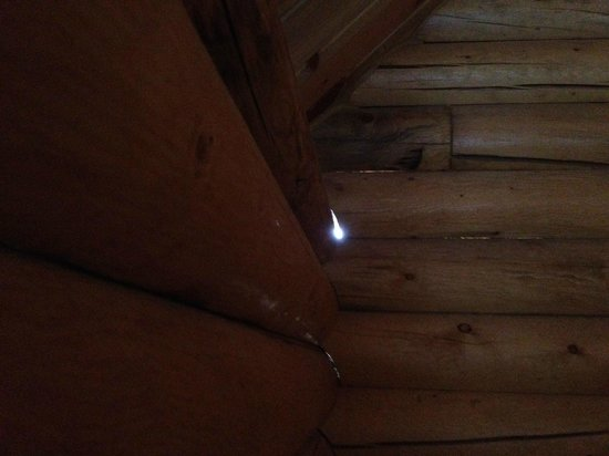 Zion Ponderosa Ranch Resort: One inch holes in cabin wall - hello insects!