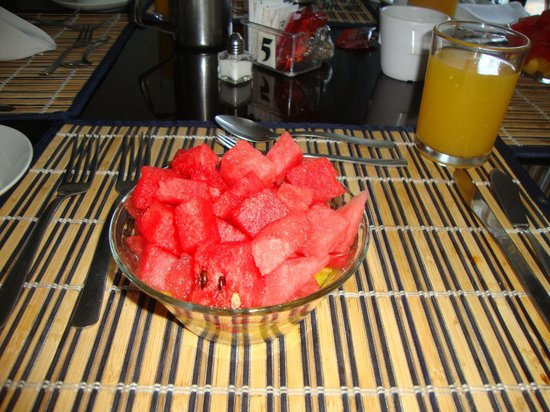 Hotel Luisiana: Fresh Watermelon & Pineapple with Breakfast Plus OJ
