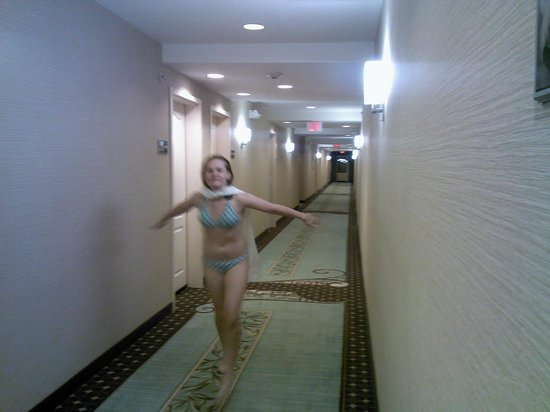 Hampton Inn & Suites Mt. Vernon/Belvoir-Alexandria South: 4th floor hallway (child playing Superman not included)
