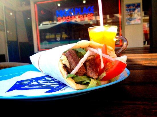 Nick's Place: Beef Souvlaki, The Greek kebab with fresh BBQ'd Beef.