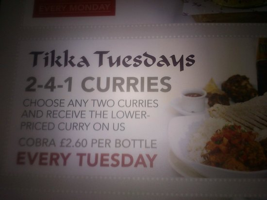 The Slug and Lettuce - Bournemouth: Curries on Tuesday