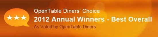 "Lafayette Inn & Restaurant: Open Table ""Best Overall"" Diners' Choice Award"