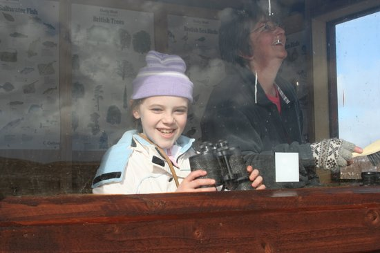 Aith, UK: Amateur Bird-watchers enjoy the bird hide