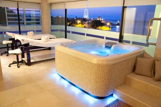 Spa 1: Our luxurious suite with a view over the Medieval Town of Rhodes and the harbour!