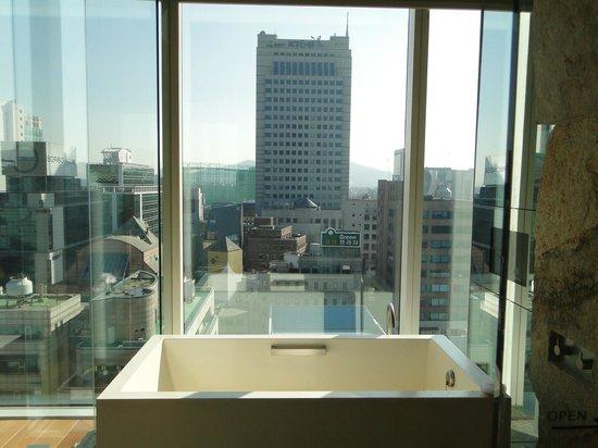 Park Hyatt Seoul: Bath tub + View from bathroom