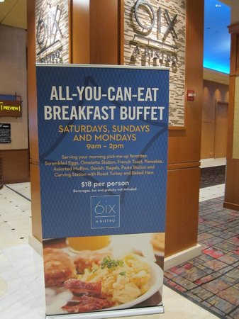 6ix A Bistro: $18 Buffet Sign on 6th Floor at Bally's