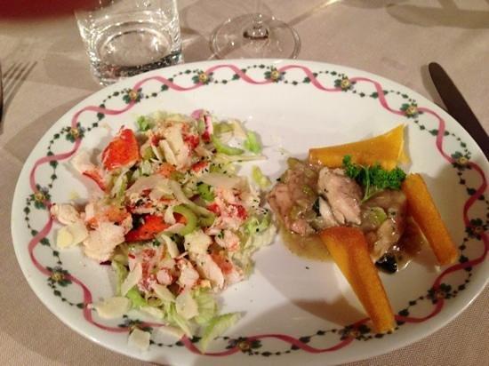 Hotel Ristorante alla Grotta : insalata di astice - luccio e polenta fritta