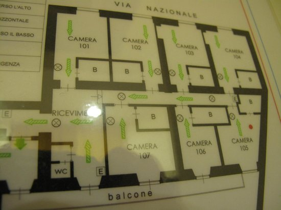 Hotel Consulta: Room map; 105 had a little more wiggle room for two guests.