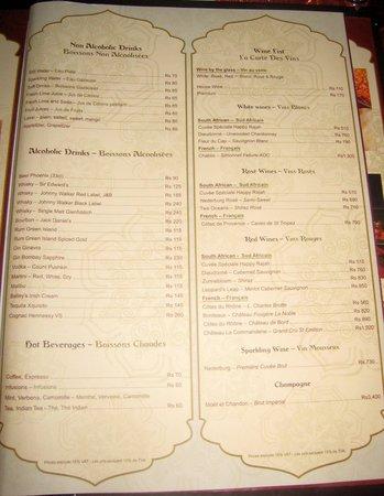 menu Picture of Happy Rajah Grand Baie TripAdvisor