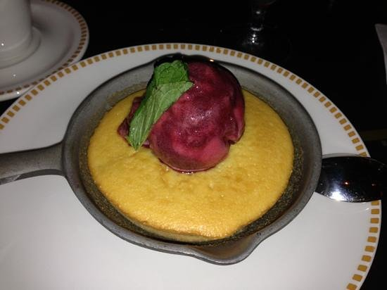 Seafire Steakhouse: peach cobbler with raspberry sorbet...