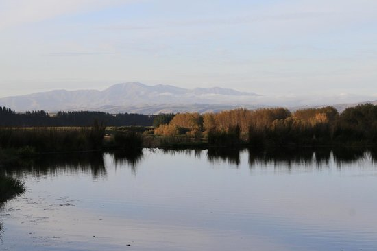 Albury, Neuseeland: View to the moutains over pond.