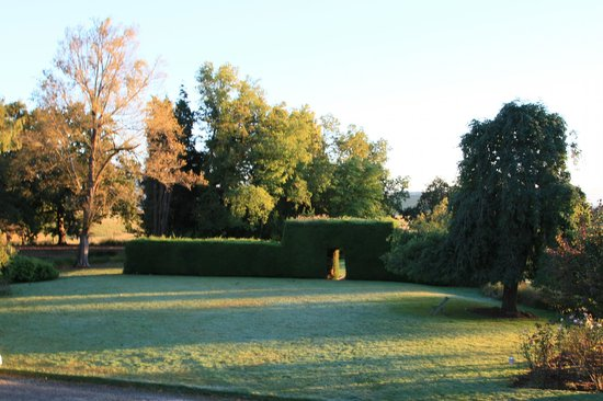 Albury, Neuseeland: Front lawn and hedge at sunset on Opawa Homestead.