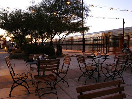 Maynards Market & Kitchen: Outdoor seating, facing the tracks