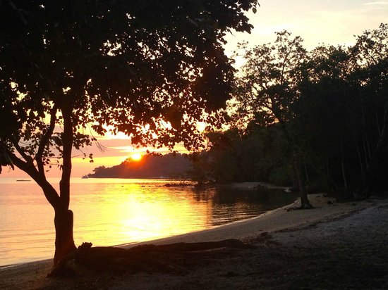 Amanwana: sunset from outside our tent
