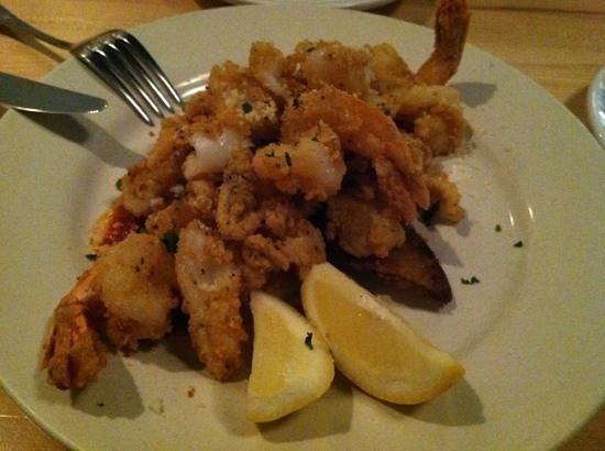 Tavola Trattoria: calamari and shrimp over crispy zucchini!