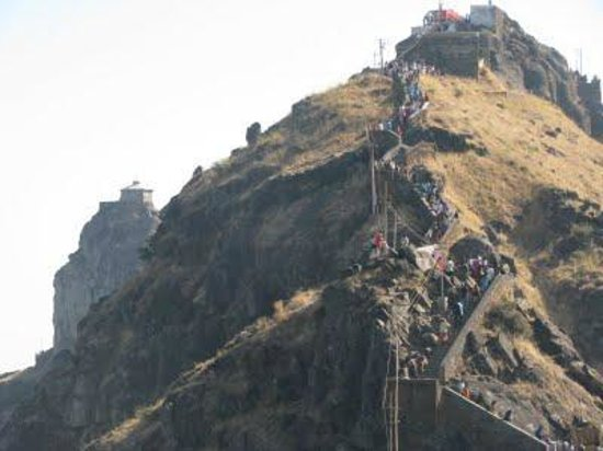 Dattatreya Temple: PEOPLE CLIMBING MOUNTAIN TOWARDS DATTAREYA TEMPLE JUNAGADH