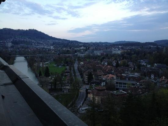 BELLEVUE PALACE Bern: view from room at dusk