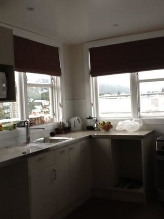 Capital View Motor Inn: well equipped kitchen with wonderful views
