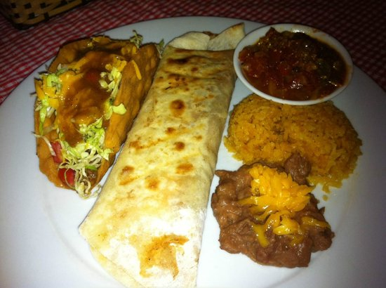 Texas BarBQ & Steaks Restaurant: Taco and Burrito plate