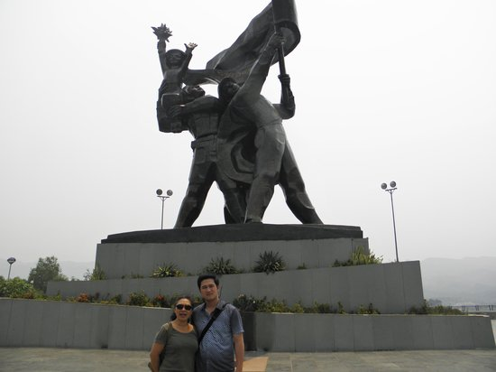 Dien Bien Phu: Victory monument towers over the valley from the highest of the French positions and is as overp