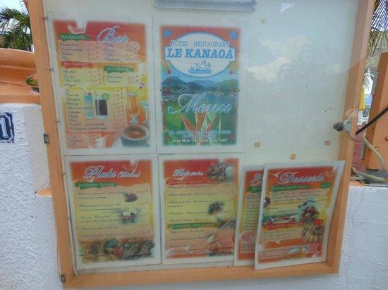 Hotel Kanaoa Les Saintes: Le menu