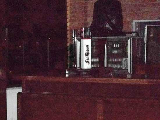 Salles Hotel Malaga Centro: Rubbish bags on top of drinks cabinet