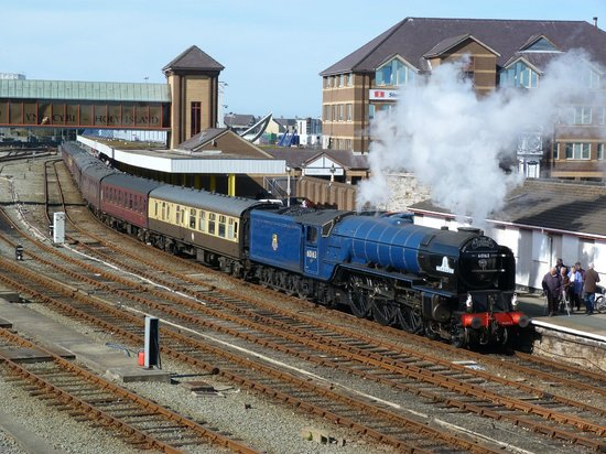 Guildford, UK: Tornado at Holyhead with its train ready for the return to London