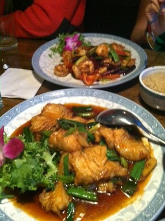 China Cottage: Sea bass and spicy shrimp.