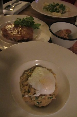 The Potted Pig: Kedgeree with Poached Egg, Welsh Rarebit, Apple Walnut Salad