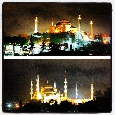 Med Cezir Hotel: view from hotels rooftop, hagia sofia (top) blue mosque (bottom)