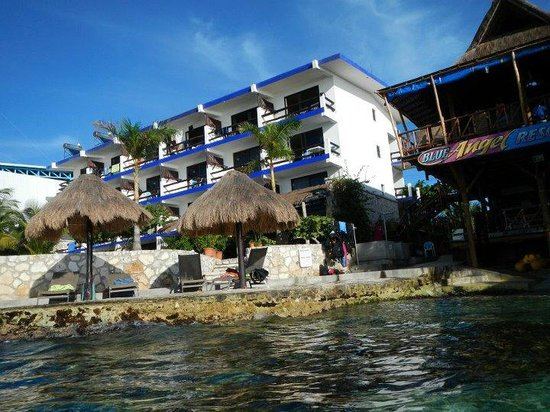 Blue Angel Resort: Blue Angel-View of hotel and restaurant from the water